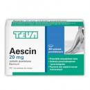 AESCIN 30 tab.Przewlekla niewydolnosc zylna,dzialanie przeciwzapalne,przeciwobrzekowe,poprawia stan napiecia naczyn krwionosnych