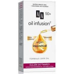 AA Oil infusion 50+ OLEJEK DO TWARZY Intensywna regeneracja + aktywny lifting // Argan inca inchi oil / Lekka formula, biozgodny