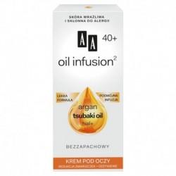 AA Oil infusion 40+ Krem pod oczy redukcja zmarszczek + odzywienie / Argan,tsubaki oil,hial+ / Lekka formula