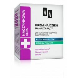 AA Cera Naczynkowa //  Krem na dzien nawilzajacy / Zmniejsza widocznosc zaczerwienien / Kazdy rodzaj cery / Zielony pigment