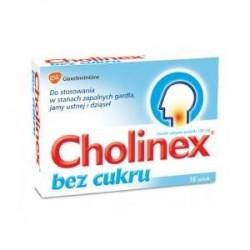 CHOLINEX bez cukru / Do stosowania w stanach zapalnych gardla, jamy ustnej i dziasel / 16 pastylek