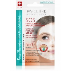 Eveline SOS for blackheads and discolorations // Warming, purifying mask 5in1 for face, neck and decollete
