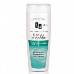 AA TW Energia Mlodosci 30+ Micelarny plyn do demakijazu oczu i twarzy / Koenzym Q10 i Kwas hialuronowy / Skora wrazliwa