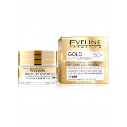 Eveline Gold Lift Expert 50+ / Luxurious multi-nourishing cream-serum with 24k gold / day&night/ Mature,dry and sensitive skin
