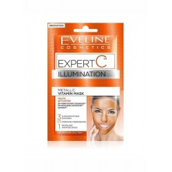 Eveline Expert C Illumination /Metallic vitamin face mask 3in1/Eliminates fatigue symptoms,immediately regenerates,revitalises