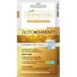 BIELENDA ZLOTO & DIAMENTY Odbudowujace serum + naprawcza maseczka /Odmladza rysy twarzy /Luksusowy zabieg aktywnie liftingujacy