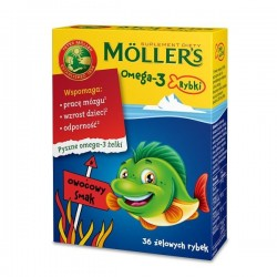 MOLLER'S Omega-3 Rybki / Wspomaga prace mozgu, wzrost dzieci, odpornosc // Owocowy smak