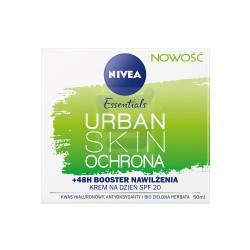 Nivea Essentials Urban Skin Ochrona /Krem na dzien SPF20 /48h Booster nawilzenia /Kwas hialuronowy,antyoksydanty,zielona herbata