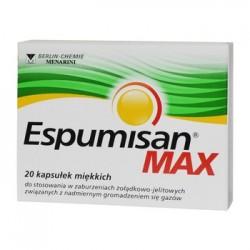 ESPUMISAN MAX zaburzenia zoladkowo-jelitowe, zwiazane z nadmiernym gromadzeniem sie gazow // 20 kapsulek miekkich