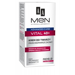AA MEN 40+ VITAL // KREM DO TWARZY PRZECIWZMARSZCZKOWY // wzmocnienie skory // RDS-2 System + kwas hialuronowy