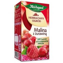 Herbata Herbapol MALINA z ZURAWINA // 100% natury z duzych kawalkow owocow / 20 szt