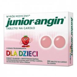 JUNIOR-ANGIN// Tabletki na gardlo o smaku truskawkowym dla dzieci