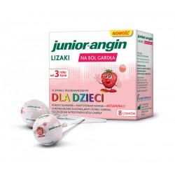 JUNIOR-ANGIN// Lizaki na bol gardla o smaku truskawkowym dla dzieci