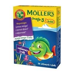 MOLLER'S Omega-3 Rybki / Wspomaga prace mozgu, wzrost dzieci, odpornosc // malinowy smak