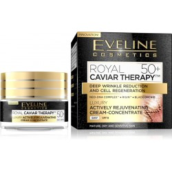 Eveline ROYAL CAVIAR THERAPY 50+// Actively Rejuvenating Cream-Concentrate// Neo-Dna complex, Rigin, Black Orchid