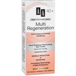 AA TW Multi Regeneracja 40+// Krem rozjasniajacy cienie pod oczami / Bezzapachowy // Kwas hialuronowy,witamina E mlodosci