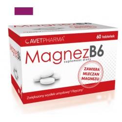 Magnez B6 Suplement diety/zawiera mleczan magnezu/zwiekszony wysilek umyslowy i fizyczny/ 60 tabletek