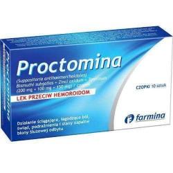 Proctomina Lek przeciw hemoroidom// Czopki 10 sztuk