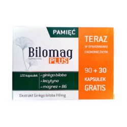 BILOMAG PLUS // Pamiec i Koncentracja // Ekstrakt Ginko Biloba // 90 + 30 kapsulek gratis