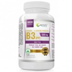WITAMINA B3 - NIACYNA (PP) 500mg // +L-Leucyna+Prebiotyk // 120 kapsulek // produkt vege, bez skrobi, cukru i soli