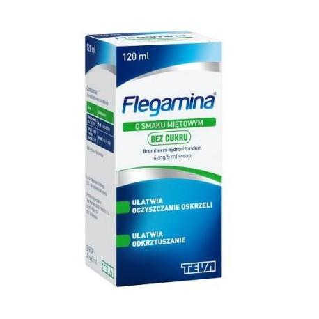 FLEGAMINA // Syrop o Smaku Mietowym Bez Cukru // 120ml // ulatwia oczyszczanie oskrzeli i odkrztuszanie