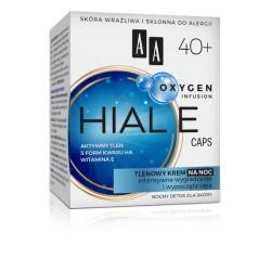 AA HIALE CAPS 40+ // Tlenowy Krem na Noc // Intensywne Wygladzenie i Wypoczeta Cera // aktywny tlen, 5 form kwasu Ha, witamina E