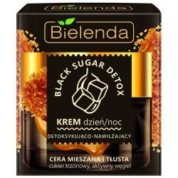 Bielenda BLACK SUGAR DETOX // Krem dzien/noc Detoksykujaco-Nawilzajacy // cera mieszana i tlusta // aktywny wegiel