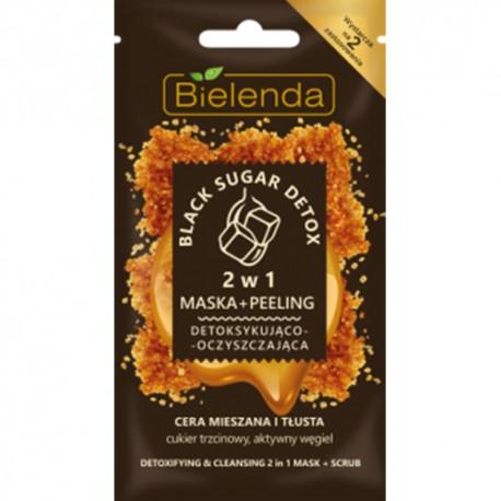 Bielenda BLACK SUGAR DETOX // 2w1 Maska + Peeling Detoksykujaco-Nawilzajaca // cera mieszana i tlusta // aktywny wegiel