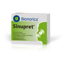 SINUPRET // Wspomagajaco w ostrych i przewleklych stanach zapalnych zatok // 50 tabletek drazowanych