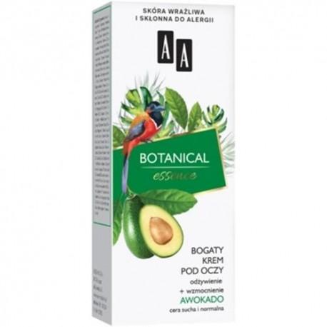 AA BOTANICAL Essence AVOCADO // Bogaty Krem pod Oczy // odzywienie + wzmocnienie // skora wrazliwa, sklonna do alergii