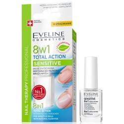 Eveline 8w1 TOTAL ACTION SENSITIVE // Skoncentrowana Odzywka do Paznokci Wrazliwych z Kwarcem // z naturalnym utwardzaczem