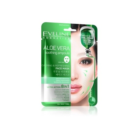 Eveline ALOE VERA soothing ampoule // calming and refreshing face mask // ultra action 8in1