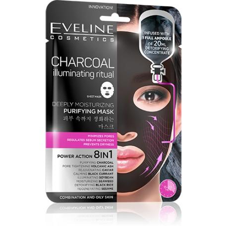 Eveline CHARCOAL illuminating ritual // deeply moisturizing purifying mask // power action 8in1
