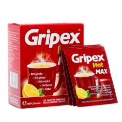 GRIPEX HOT MAX // Lek przeciw objawom przeziebienia // 8 saszetek // bol gardla, garaczka, bol glowy, katar, bol miesni