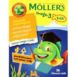 MOLLER'S Omega-3 Rybki // Wspomaga prace mozgu, wzrost dzieci, odpornosc // pomaranczowo-cytrynowy smak // pyszne omega3 zelki