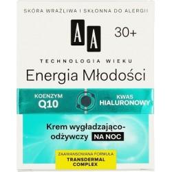 AA TW Energia Mlodosci 30+ //  Krem wygladzajaco-odzywczy NA NOC // koenzym Q10 , kwas hialuronowy