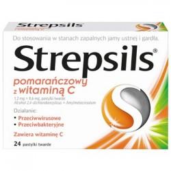 STREPSILS POMARANCZOWY Z WIT. C // stany zapalne jamy ustnej i gardla // przeciwbakteryjny i przeciwwirusowy // 24 pastylki