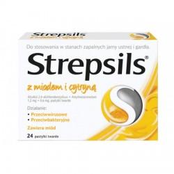 STREPSILS z Miodem i Cytryna // w stanach zapalnych jamy ustnej i gardla // przeciwbakteryjny i przeciwwirusowy // 24 pastylki