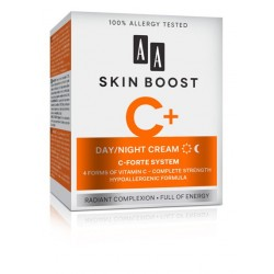 AA Skin Boost C+ // DAY / NIGHT CREAM C- forte system // 4 forms of vitamin C- complete strength hypoallergenic formula // 50ml