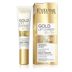 Eveline Gold Lift Expert //  Luksusowy złoty krem napinający kontur oczu i ust 50+/70+