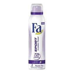 FA Anti-perspirant SPORT INVISIBLE POWER Powder Free / 72h invisible protection,anti-white,anti-yellow, anti-oily stains 150 ml