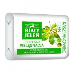 BIALY JELEN Hipoalergiczne mydlo naturalne z kasztanowcem i lnem // Bez alergenow i sztucznych barwnikow