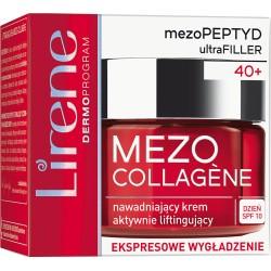 Lirene MEZO COLLAGENE 40+ // Nawadniajacy Krem Aktywnie Liftingujacy // ekspresowe wygladzenie // dzien SPF 10 // 50ml