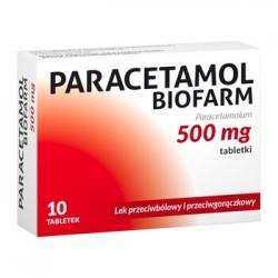 PARACETAMOL Biofarm 500mg // lek przeciwbolowy i przeciwgoraczkowy //10 tabletek
