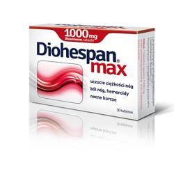 DIOHESPAN MAX 1000mg / Uczucie ciezkosci nog, bol nog, nocne kurcze, hemoroidy // 30 tab