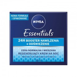 NIVEA // Regenerujacy krem na noc / Cera normalna i mieszana / Zapewnia glebokie nawilzenie i regeneruje / Witamina E i hydra IQ