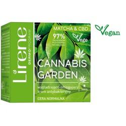Lirene Vege Cannabis Garden  MATCHA & CBD //  Wygładzająco-liftingujący krem antybakteryjny na dzień //  Cera  normalna