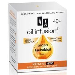 AA Oil infusion 40+ Krem na noc regeneracja + sprezystosc / argan, tsubaki,oil,hial+ / Lekka formula