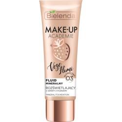 Bielenda Make-Up Academie Vege Flumi // Fluid mineralny rozświetlający - słoneczny beż 03 //  Zawiera sok  z truskawki // 30 g.