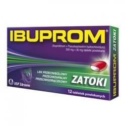 Ibuprom Zatoki, 200 mg + 30 mg,//  lek przeciwbolowy, przeciwzapalny, przeciwgoraczkowy // 12 tabletek powlekanych